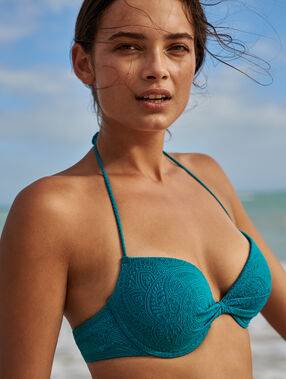 Sujetador bikini con foam estampado relieve. copa c-e turquesa.