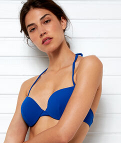 Sujetdor bikini push up suave relieve azul.