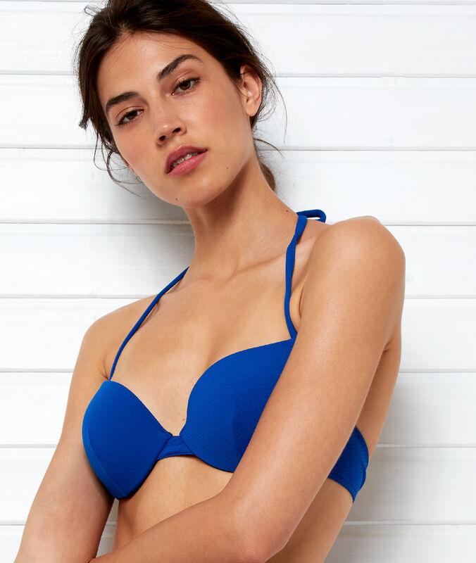 Sujetdor bikini push up suave relieve azul.