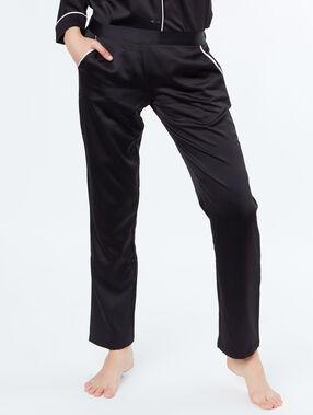 Pantalón de satén franjas contrastadas negro.