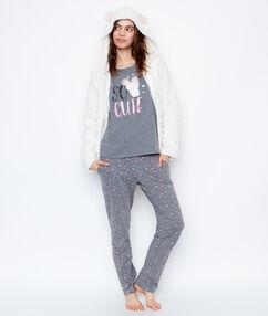 Pijama 3 piezas estampado monstruitos c.gris/blanco roto.