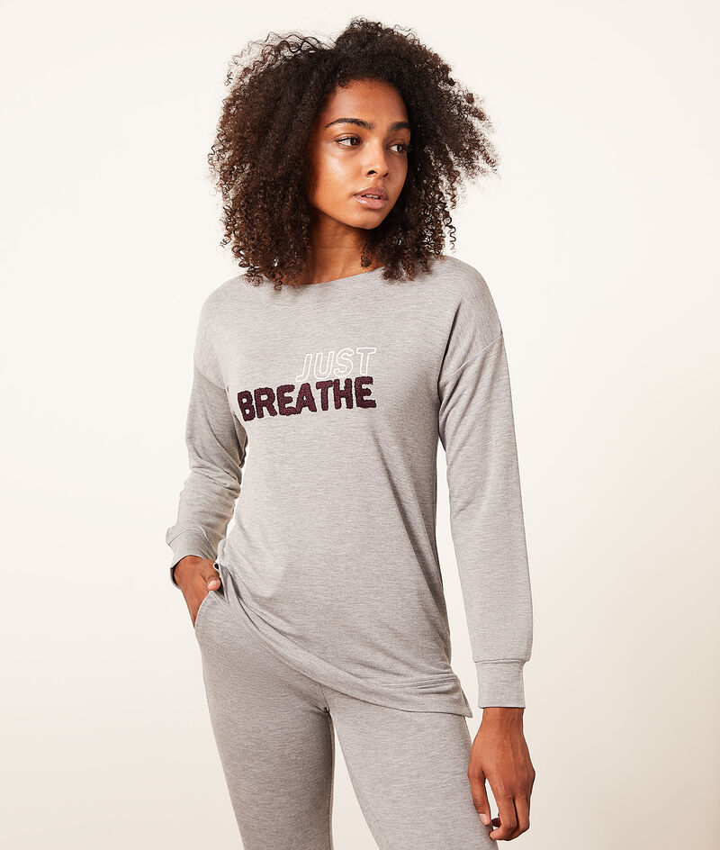 Camiseta manga larga 'just breathe';${refinementColor}