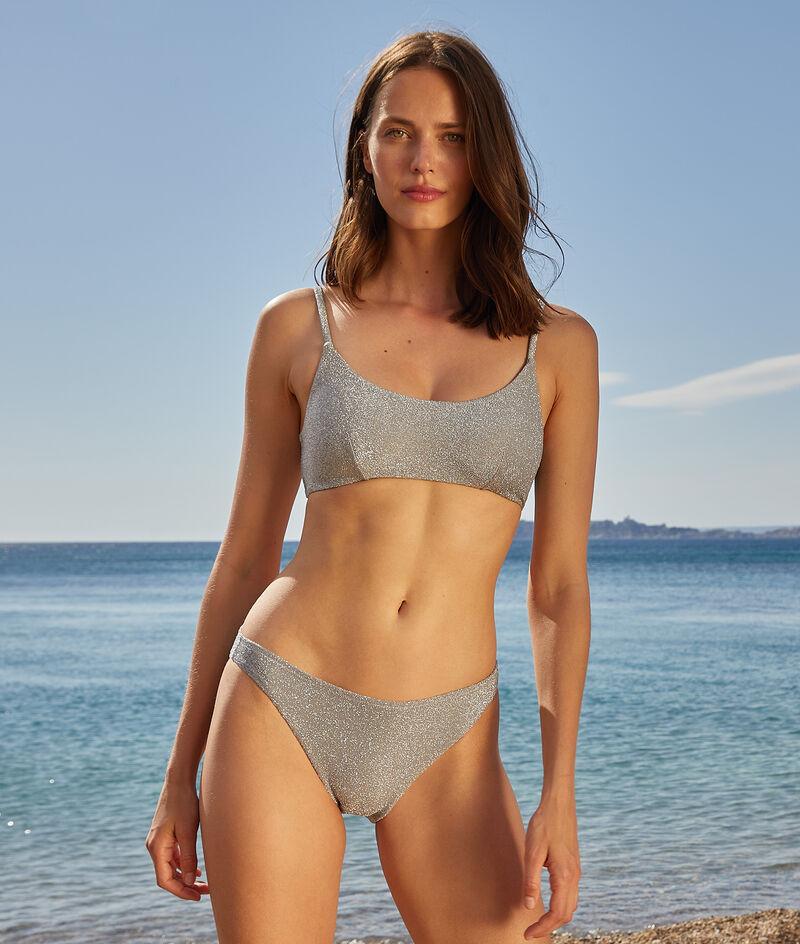 Sujetador bikini sin aros, tejido irisado;${refinementColor}