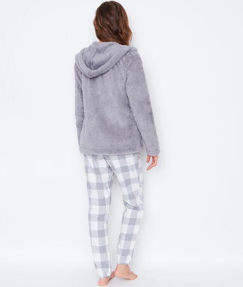 Pijama 3 piezas. Chaqueta tejido peluche