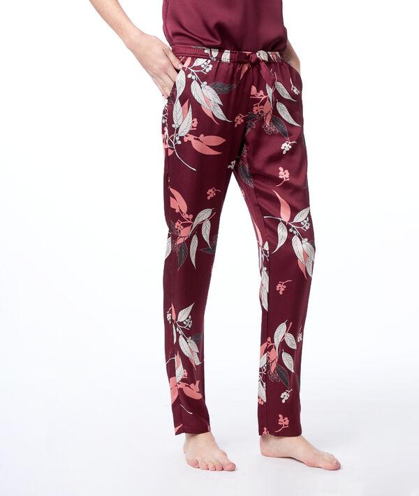 Pantalón satén estampado oriental
