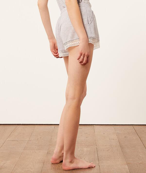 Pantalón corto con motivos de encaje;${refinementColor}