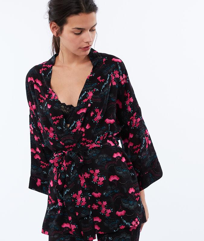 Bata tipo kimono estampado oriental negro.