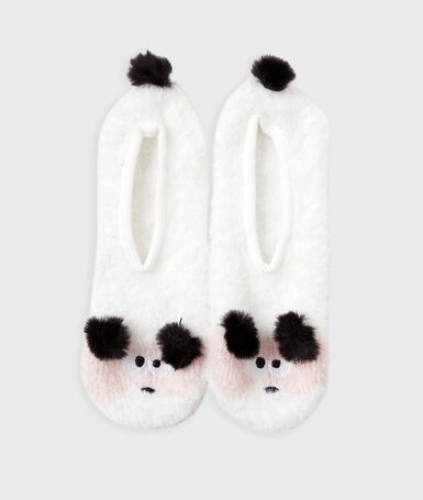Zapatillas animalitos con pompones crudo.