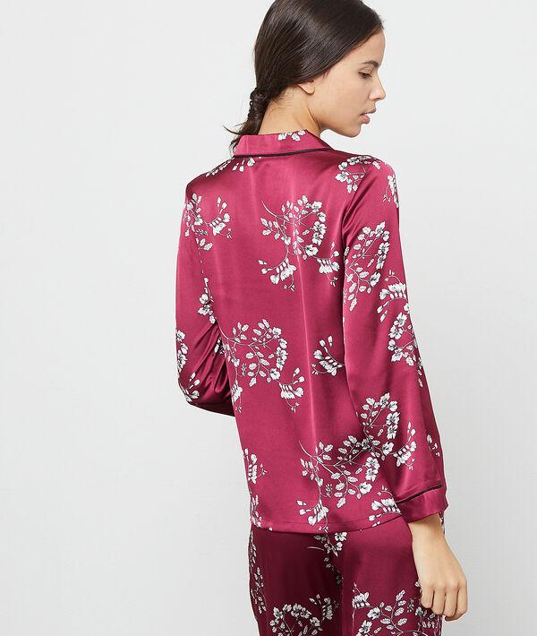 Camisa pijama de satén estampado floral