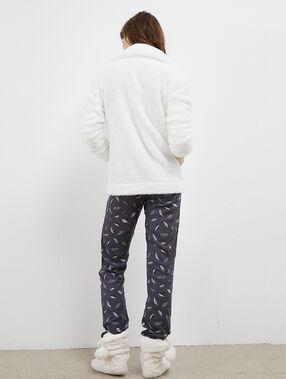 Pijama tres piezas  búho crudo.