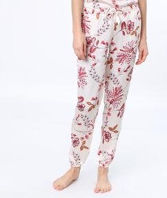Pantalón estampado floral blanco.