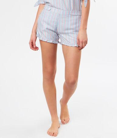 Pantalón corto estampado a rayas azul.