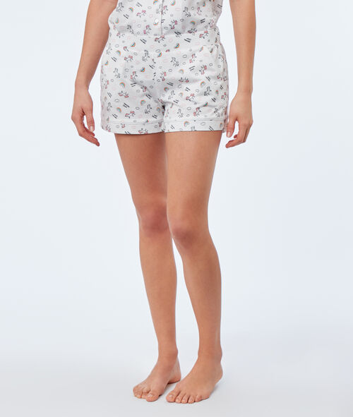 Pantalón corto estampado unicornios