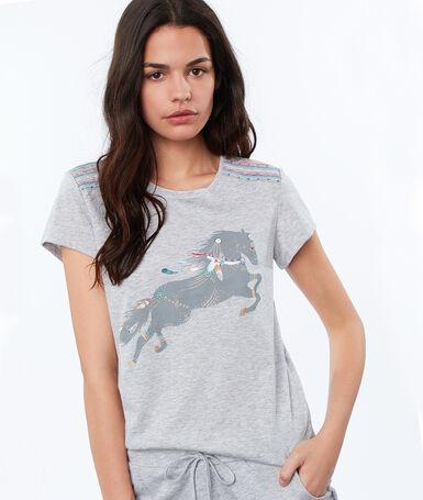 Camiseta dibujo caballo c.gris.