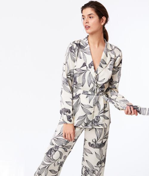 Camisa pijama de satén estampado jungla