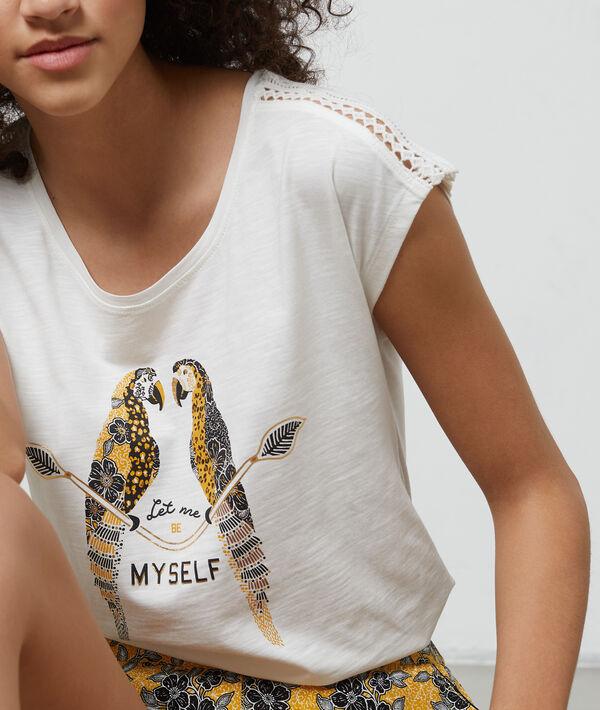 Camiseta de algodón estampado loros