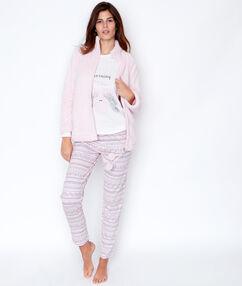 Pijama 3 piezas. chaqueta tejido peluche rosa.
