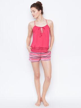 Pantalón satén estampado rosa.