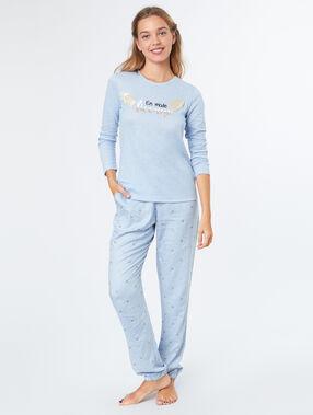 Camiseta manga larga unicornio azul.
