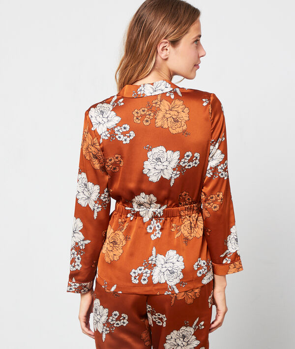 Camisa pijama satén estampado floral