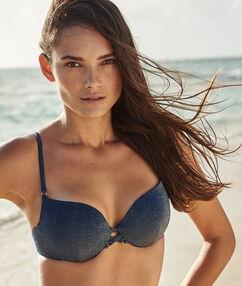 Sujetador bikini push up tejido brillante azul noche.