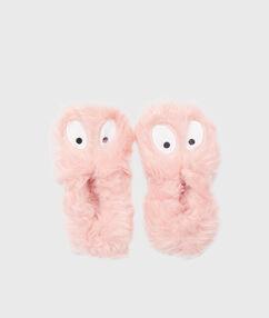 Chanclas pompones monstruitos rosa.