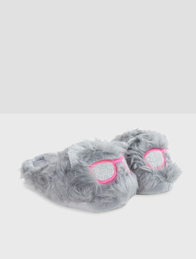 Zapatillas peludas c.gris.
