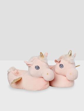 Zapatillas unicornio rosa.
