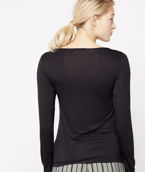Camiseta manga larga microfibra y encaje