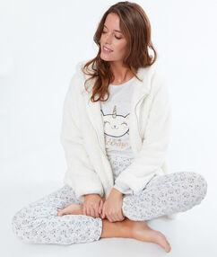 Pijama 3 piezas estampado gato y unicornio c.beige.