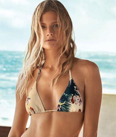 Sujetador bikini triangular estampado floral multicolor.