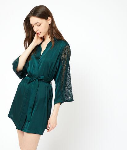 Bata tipo kimono de satén y encaje;${refinementColor}
