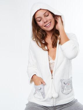 Chaqueta tejido peluche búho blanco.