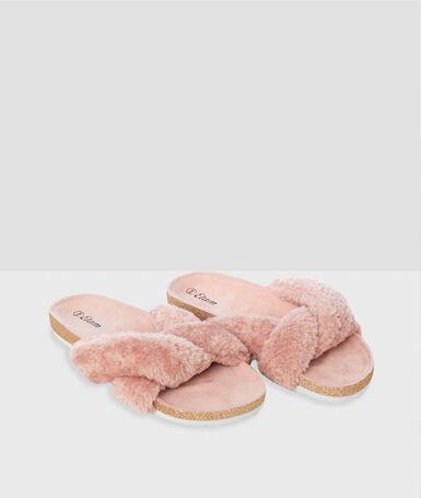Zapatillas abiertas tejido peluche rosa.