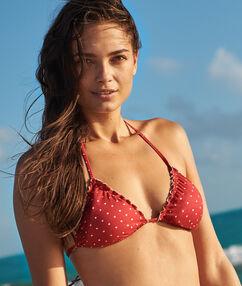 Sujetador bikini tirangular estampado lunares rojo.