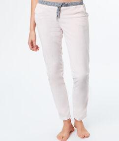 Pantalon velours rose.