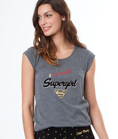 Camiseta estampada superheroína c.gris.