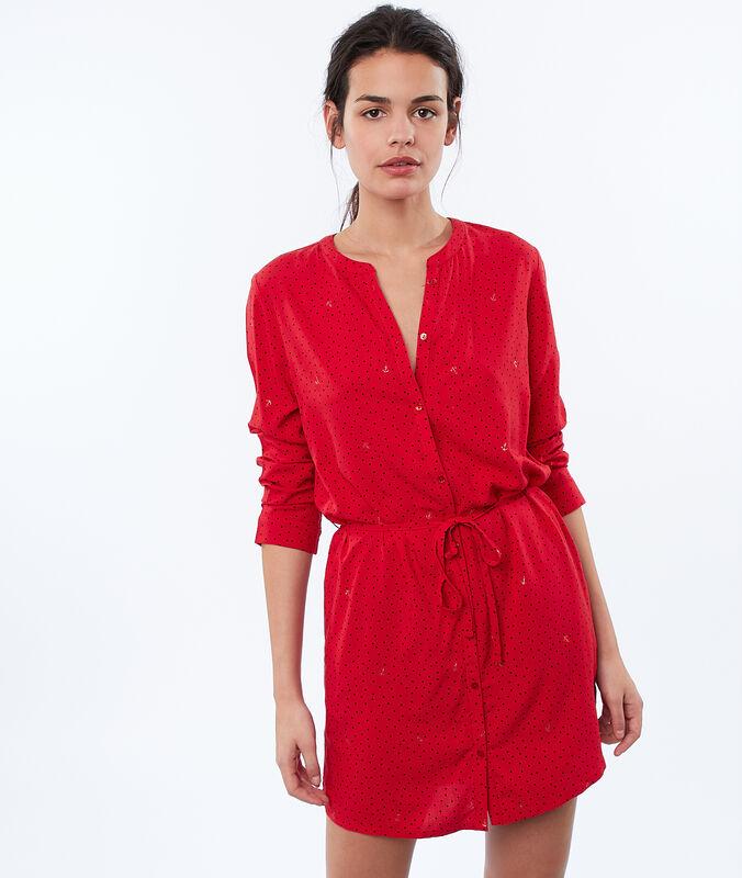 Camisa de dormir ceñida rojo.