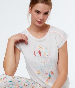 Camiseta manga corta tropical blanco.