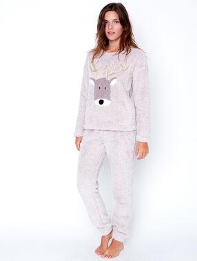 Pijama 2 piezas. pantalón y camiseta tejido peluche c. beige.