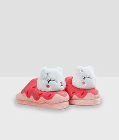 Zapatillas donut motivos gato rosa.