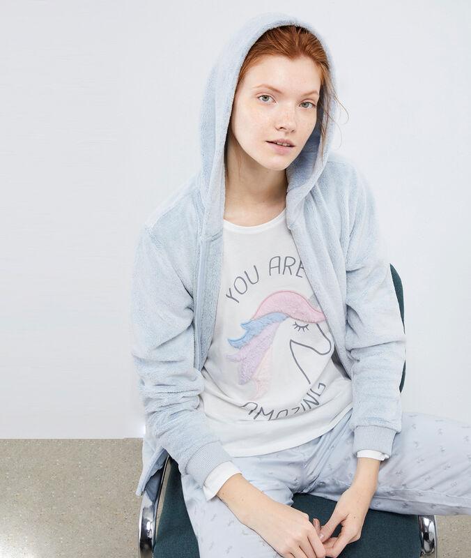 Pijama 3 prendas estampado unicornio azul cielo.
