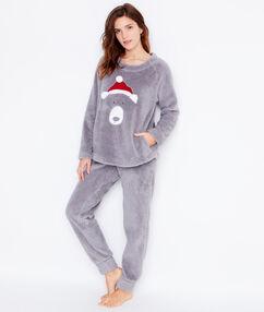 Pijama 2 piezas. pantalón y camiseta tejido peluche c. gris.