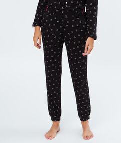 Pantalón pijama estampado negro.