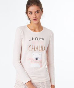 Camiseta estampado oso rosa.