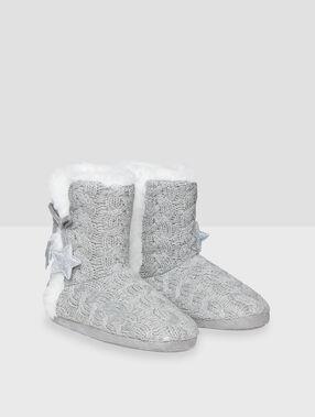 Zapatillas botín punto tricotado c.gris.