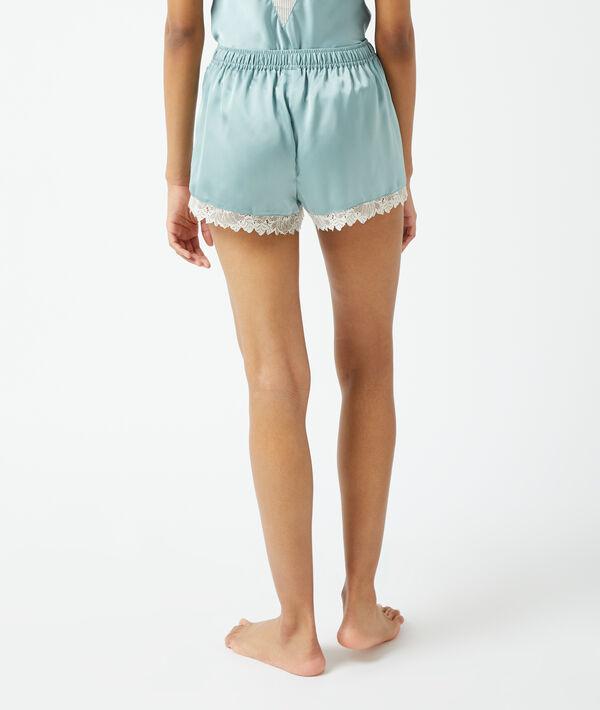 Pantalón corto de encaje y satén;${refinementColor}