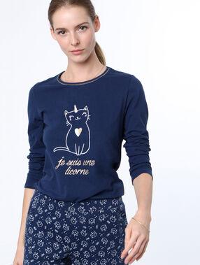 Camiseta manga larga estampado gato azul.