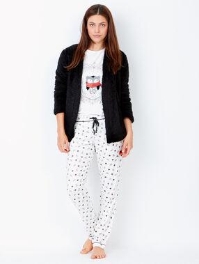 Pijama 3 piezas. chaqueta tejido peluche negro.