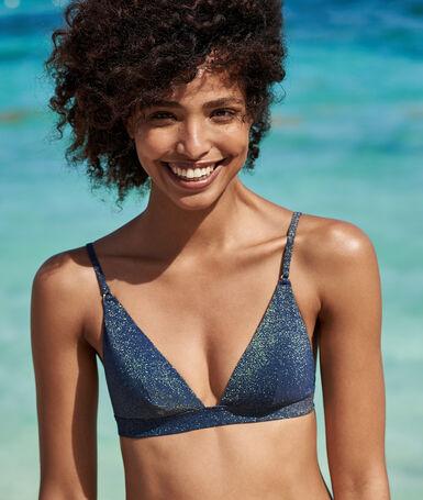 Sujetador bikini triangular tejido brillante azul noche.